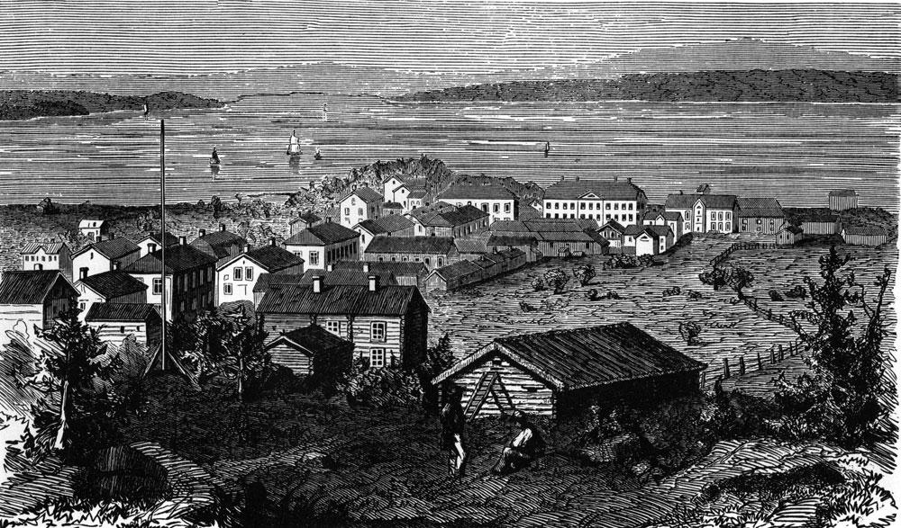Örnsköldsvik 1861. Teckning av Otto August Mankell i Ny Illustrerad Tidning