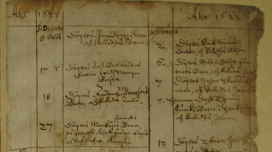 Västerås domkyrkoförsamlings äldsta dopbok 1622-1623