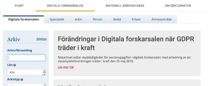 Förändringar i Digitala forskarsalen hos Riksarkivet