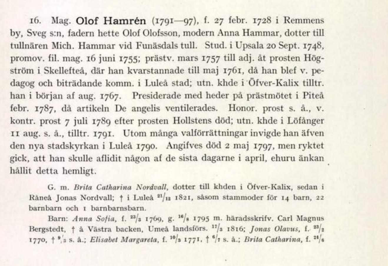 Från Leonard Bygdéns herdaminne över Härnösands stift
