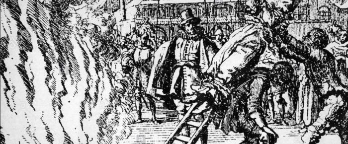 Modern till två präster halshuggs och bränns på bål