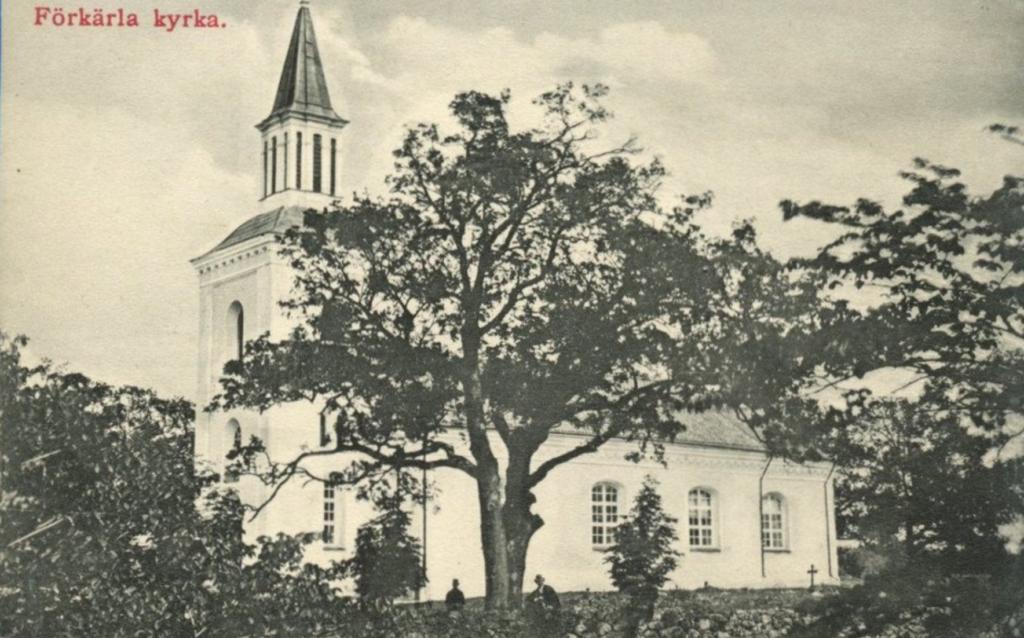 Förkärla kyrka på äldre vykort