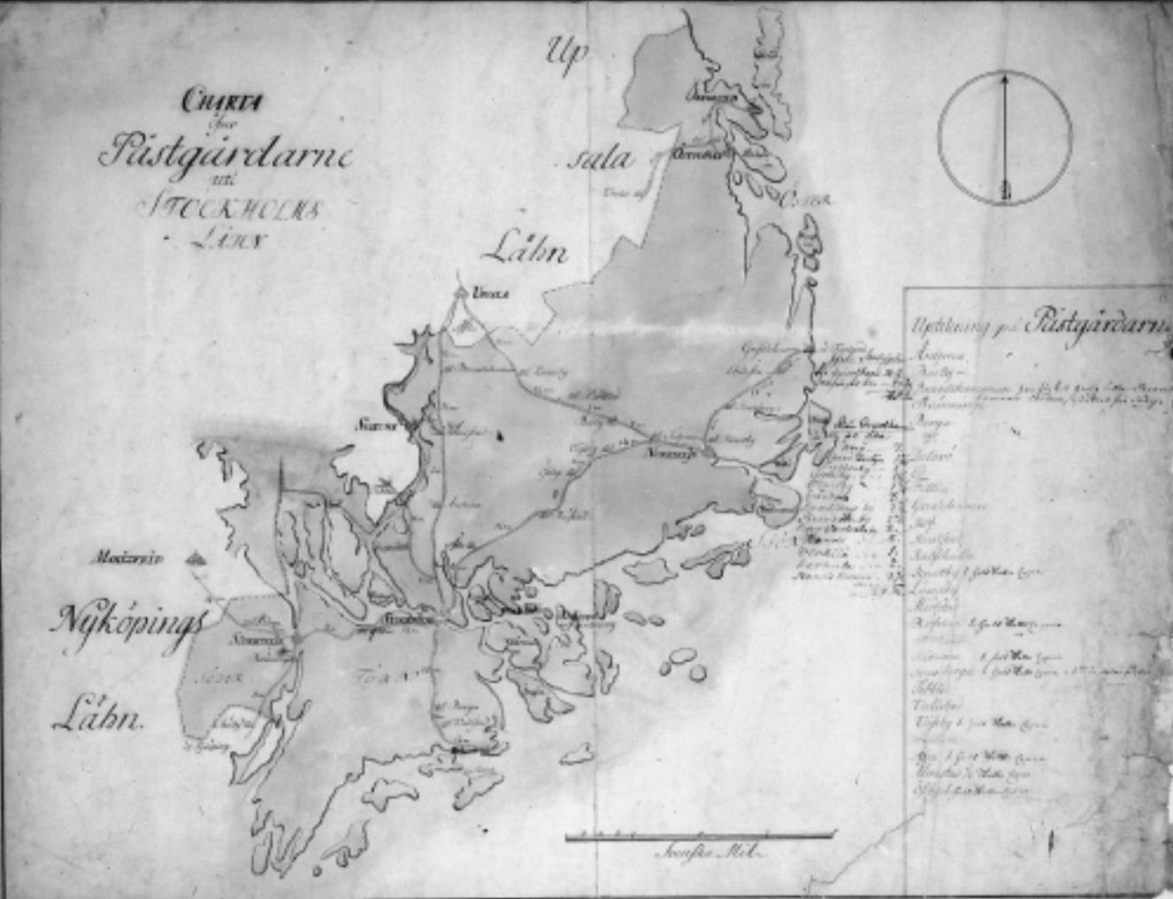 Karta över postgårdarna i Stockholms län